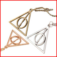 Wholesale Wholesale Pendant Charms Bronze - Luna Deathly Hallows Pendant Necklace film movie jewelry for fans Triangle round pendant retro jewelry silver bronze Sweater chain 160221