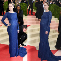 Wholesale Emily Blunt Dresses - Navy Blue Celebrity Dresses Emily Blunt 2016 Met Gala Pregnant Full Lace Sparkles Sexy Back Long Sleeves Cutaway Evening Gowns
