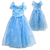 Wholesale Chiffon Turtleneck Dress - 2016 new movie cinderella princess halloween costumes for children girl carnival cinderella butterfly dress for party free shipping in stock