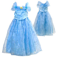 Wholesale princess cinderella costumes for sale - 2016 new movie cinderella princess halloween costumes for children girl carnival cinderella butterfly dress for party in stock