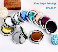 kosmetik vergrößern großhandel-Crystal Taschenspiegel + Free Logo Print Gravierte Kosmetik Compact Vergrößerungs Schminkspiegel Hochzeitsgeschenk für Gäste D