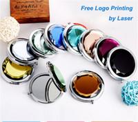 makyaj için kristaller toptan satış-Kristal kompakt ayna + Ücretsiz Logo Baskı Kazınmış Kozmetik Kompakt Büyüteç Makyaj Aynası Konuklar için Düğün Hediyesi D