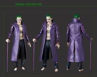 abrigos batman al por mayor-Al por mayor-Película Kukucos Batman Suicide Squad Halloween Coat Chaqueta larga de cuero Jared Leto Joker Cosplay con pantalones Estilo de la manera