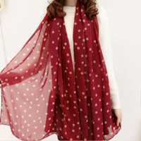 Wholesale polka dot wine - Wholesale- Wine Red New Style Real chiffon Classic Polka Dot Scarf Long Chiffon Scarf Women's Korean Version Silk Scarf Hottest