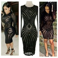 Wholesale Sleeved Gauze Dress - Lace Diamond Pattern Sexy Nightclub Dress Transparent Masonry Flash Perspective Skinny Gauze Hip Black & Red Long-sleeved Skirt
