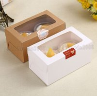kraft Cartão Papel Cupcake Box 2 Cup Cake Holders Muffin Cake Boxes Sobremesa Portable Package Box Tray Gift Favor MYY