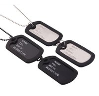 Wholesale Designer Items - Unique Designer Double Blank Necklace Military Army Style Black 2 Dog Tags Chain Mens Pendant Necklace Items Jewelry Accessories