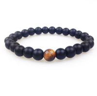 Wholesale matte black onyx beads wholesale - SN0348 New Design 8mm Matte Black onyx with a tiger eye bead Bracelet Men Stone Bead Bracelets