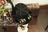 Wholesale Cosplay Mad Hatter - Wholesale-Handmade Steampunk Top Hat Vintage Fedoras Hat Lolita Cosplay Mad Hatter Cosplay Hat BLACK