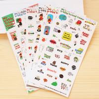 cadernos escola bonito venda por atacado-Atacado-6 folhas Kawaii Little Friend bonito Girl Sticker Diário Notebook Decor Scrapbooking Planejador Calendário Decor Student School Supplies