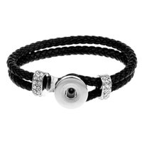 schwarzer druckknopf verkauf großhandel-Heißer verkauf snap armband mode diy charme schwarz pu leder braceletbangles fit 18mm druckknöpfe silber schmuck für frauen sl004