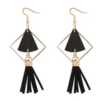 Vintage Tassel Drop Earrings Big Triangle Caixa De Madeira Ethnic Charm Dangle Earring Presentes Para Mulheres Girl Fashion Jewelry Wholesale