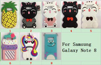 3D Cute Cartoon unicorn cat Silicone Cases Cover Para iphone 7 plus i7 i8 para Samsung Galaxy S8 Plus note8 goophone Nota 8