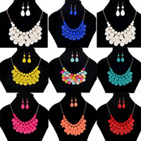 Wholesale Gold Bubble Necklace Wholesale - Bib Bubble Statement Necklace 2017 New Fashion Chokers For Women Jewellery Acrylic Beaded Necklace