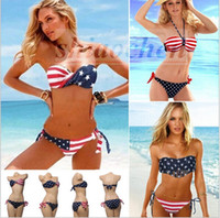 Wholesale Twist Bandeau Top Bikinis - Women USA Flag Bikini Twisted Stars Bikinis Stripes Swimwear Bandeau Swimsuit Sexy Bath Suit tassel Beachwear Bras Briefs Top Bottom A648 10