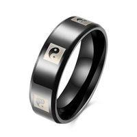 Wholesale Rings Tai Chi - Fashion Simple Black Titanium Steel Chinese Traditional Culture Taoism Tai Chi Yin & Yang Personality Men's Ring