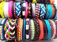 Wholesale Handmade Mixed Leather Rope Bracelet - 100pcs MIX men women Handmade Bracelets Colorful Charm Leather Wristbands Women Lady manmade Bangle Wholesale Jewelry Xmas Christmas Gift