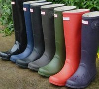 Hunter Boots Mujer Wellies Wellingtons Boots Welly Impermeable Knee Rainboots Glossy Matte Rain Shoes Botas de caucho al aire libre Zapato de agua Boost