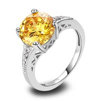 Wholesale Lab Gem - AAA CZ Lab Gems Jewelry Yellow Citrine Silver 18K White Gold Plated Fashion Ring Size 6 7 8 9 10 11 12 Free Shipping Wholesale