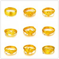Wholesale China Wholesalers Online - Online for sale fashion women's 24k gold ring 9 pieces a lot mixed style,dragon section hollow yellow gold ring DFMKR1