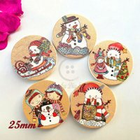 Wholesale 25mm craft buttons - New Christmas decorative buttons 50pcs 20mm   25mm round mixed pattern Christmas buttons for New year Craft scrapbook sewing
