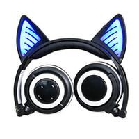 iphone kedi kulakları toptan satış-Katlanabilir Kedi kulak Bluetooth Kulaklık Parlayan Kulaklıklar Yanıp Sönen LED ışık ile iPhone 7 için artı 6 S MP3 S8 Cep telefonu