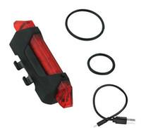 luces de advertencia envío gratis al por mayor-Bicicleta 5-LED 4 Modo de luz de advertencia de la cola delantera roja Ciclismo de advertencia de la lámpara a prueba de agua envío gratis