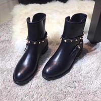 Wholesale western women paintings resale online - top quality u802 black genuine leather belt flat short boots luxury designer rocker punk classic