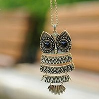Wholesale Owl Dresses For Women - summer dress 2016 Fashion vintage Owl Necklace Jewelry for women !statement necklace