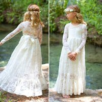 Wholesale Designer Kids Shirt - 2017 Princess Full Lace Flower Girl Dresses Sheer Long Sleeves First Communion Dresses Full Length Kids Formal Wear Girl Dress For Weddings