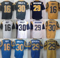 sports dickerson - Vintage Men Jared Goff Jersey For Sport Fans Throwback Eric Dickerson Todd Gurley Jerseys Blue White Yellow Excellent Quality
