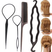 ручка для завивки волос оптовых-Wholesale-1 Set/4Pc Fashion Women Lady Hair Twist Styling Clip Stick Bun Maker Braid Tool Accessories