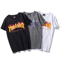 ingrosso buone t-shirt per gli uomini-2018 T-shirt di stampa del fuoco popolare di logo T-shirt di hiphop streetwear classico T-shirt da uomo Taglie larghe di moda Tops di estate di buona qualità