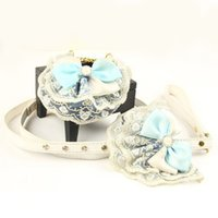 Wholesale Lace Leash - Blue Bowknot White Lace Small Dog Training Leash&Collar With Diamond&Pearl Luxury Lead Rope With PU Handle Top Quality3 Size 5Set LOT