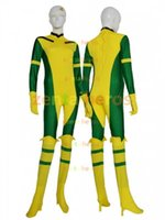Rogue X-Man Green et jaune Super Hero Lycra Spandex Catsuit Pas de Hood Halloween Party Cosplay Zentai Suit