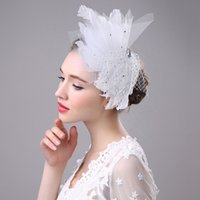 Wholesale High Performance Hair - High Quality White Gauze Fan Shape Feather Headdress Manual White Crystal Hair Photography Hat Stage Performance