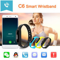Intelligente Wristband C6 Bluetooth 4.0 Heart Rate Monitor chiamata SMS Reminder IP65 impermeabile Mini Band con schermo OLED DHL OTH282