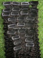 6a sınıf saç toptan satış-Afro İnsan Saç Uzantıları 9 adet / grup Klip Doğal Renk 100g Sınıf 6a Bakire Moğol Afro Kinky Kıvırcık Klip ins Saç