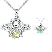 Wholesale Theme Party Animals - Christmas Halloween Theme Gifts Fluorescence Green Bee Pendants Necklace Silver Plated New Arrival Jewelry Chain 46cm Animal Series