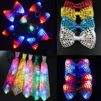 Wholesale Light Up Bow Tie - 20 pieces set Flashing Light Up Bow Tie Necktie LED Mens Party Lights Sequins Bowtie Wedding Glow Props Halloween Christmas