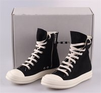 Wholesale Canvas Oil Colors - RO 15SS DRKSHDW Upgraded Version Owens Men's Women's Canvas High Top Sneakers Genuine Leather Shoes Casual Oiled Canvas Boots Free EMS DHL