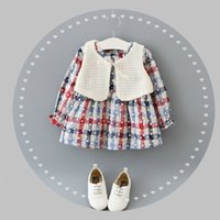 Wholesale Girl S Vest Tutu Dress - Autumn Winter Children Dress Kids Girls Long Sleeve Dress+White Vest 2PCS Kids Flower Clothing 4 s l