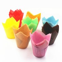 Wholesale Molds For Cupcakes - 100pcs lot Multicolor Tulip Cupcake Liner Paper Baking Cups Easy Release Muffin Molds Easy Release Perfect for Baking Muffins and Cupcakes