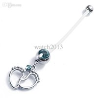 Wholesale Pregnancy Girls - Wholesale-Fashion Body Piercing Jewelry Flexible Pregnancy Maternity Ptfe Baby Feet Belly Button Bar Navel Rings Boy Girl free shipping