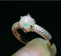 Wholesale Natural Diamond Rings Solid Gold - Vintage Round 6*6mm Rose Gold Natural Opal Diamond Wedding 925 Sterling Silver Solid Ring for Women Jewelry