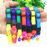Wholesale Wholesale Rainbow Dog Collars - Rainbow Dog Cat Bell Collar Adjustable Outdoor Comfortable Nylon Pet Collars For Small Dogs Puppies Pet supplier