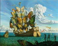 Wholesale Various Paints - Framed Vladimir Kush,The winged ship' Fantasy, Surreal,Pure Handpainted Famous Abstract Wall Art Oil Painting On Canvas Various Sizes Ab95