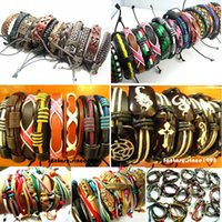 Wholesale Wholesale Fashion Tribal - wholesale mixed lots 30pcs different styles surfer cuff ethnic tribal leather bracelets fashion jewelry
