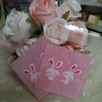 Wholesale Soap Rabbit - 100pcs 10*10+3cm Pink and Rabbit OPP Self-adhesive Seal Cookie Soap Baking Bag Event Candy Snack and Gift Packaging Bags B114