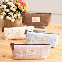 Wholesale Handmade Bags Korea - Wholesale-2016 pencil case pen pouch bag box bags school canvas vintage stationery Korea large cute zipper cheap cases hot cloth handmade